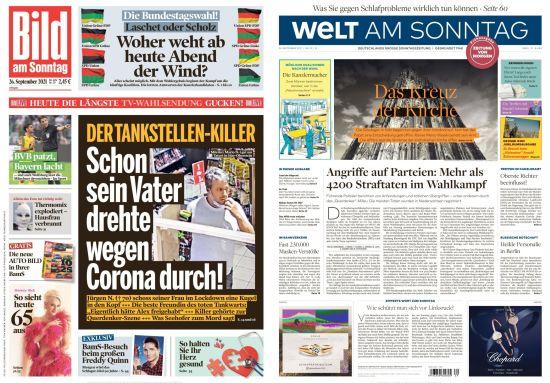 Cover: Bild und Welt am Sonntag No 39 vom 26  September 2021