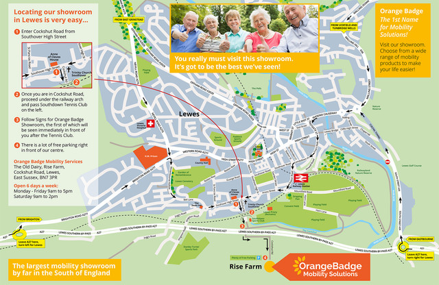 A large, printable map to make it easier to find us in Lewes,