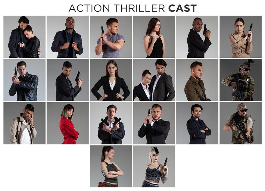 action thriller stock photo bundle cast members