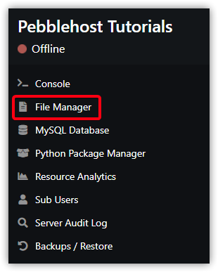 Click the File Manager link, which is the second item on the panel's left sidebar