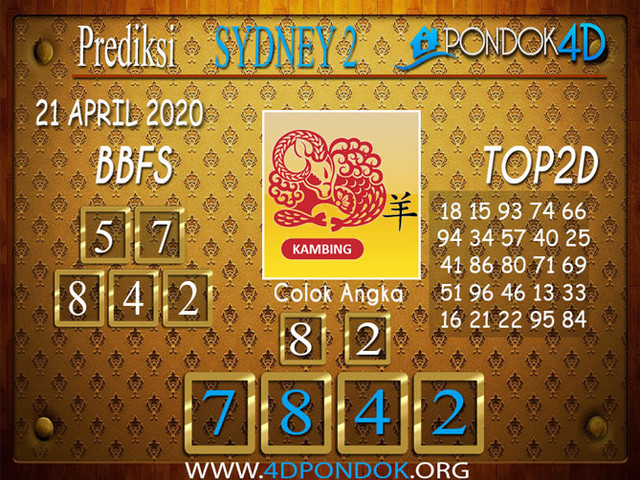 Prediksi Togel SYDNEY 2 PONDOK4D 21 APRIL 2020