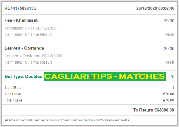 Official Cagliari Fixed Matches