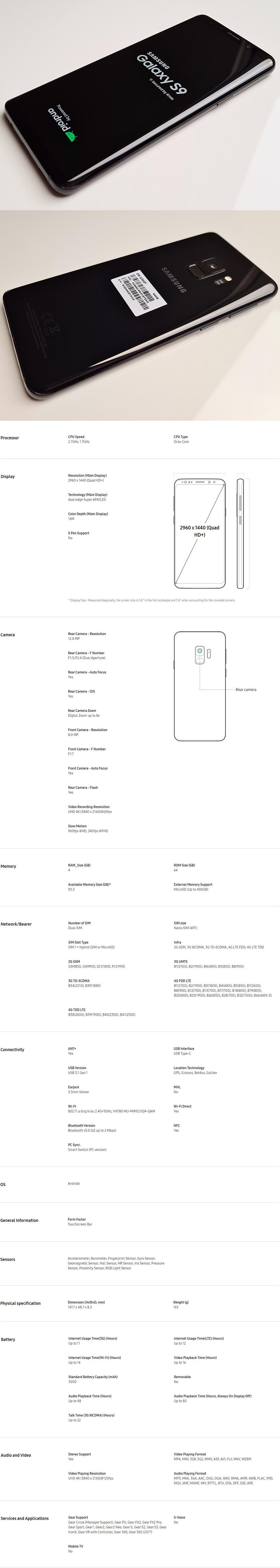 descs9used2 - Samsung Galaxy S9 SM-G960F 64GB Single SIM Midnight Black (Unlocked) PRISTINE