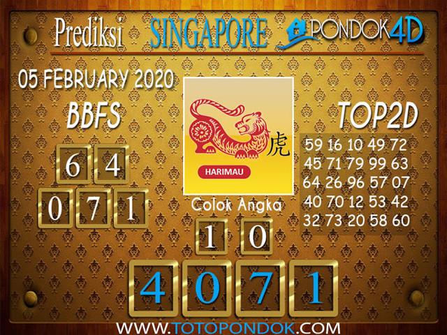 Prediksi Togel SINGAPORE PONDOK4D 05 FEBRUARY 2020