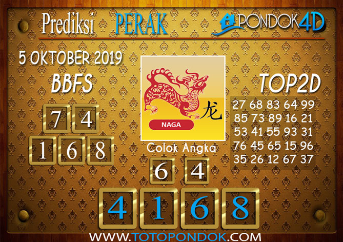 Prediksi Togel PERAK PONDOK4D 05 OKTOBER 2019