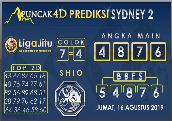 PREDIKSI TOGEL SYDNEY2 PUNCAK4D 16 AGUSTUS 2019
