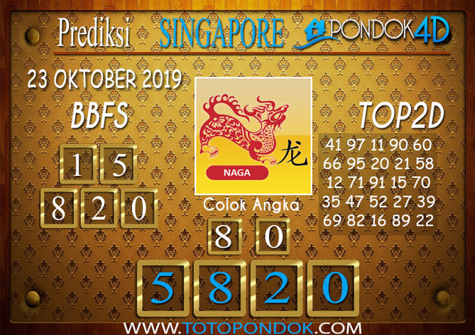 Prediksi Togel SINGAPORE PONDOK4D 23 OKTOBER 2019