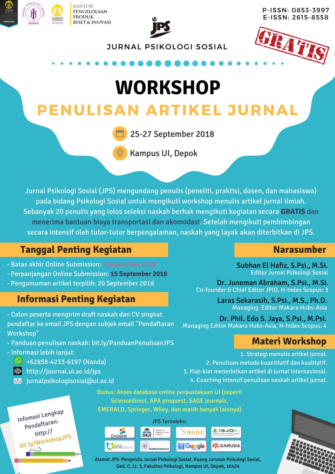 Workshop Penulisan Artikel Ilmiah Ikatan Psikologi Sosial