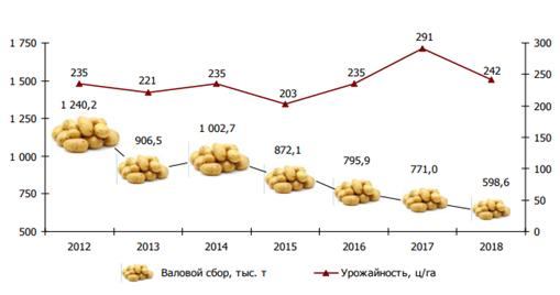Рисунок 3 – Валовой сбор и урожайность картофеля в сельскохозяйственных организациях