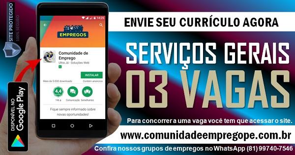 AUXILIAR DE SERVIÇOS GERAIS, 03 VAGAS PARA EMPRESA DE TERCEIRIZAÇÃO