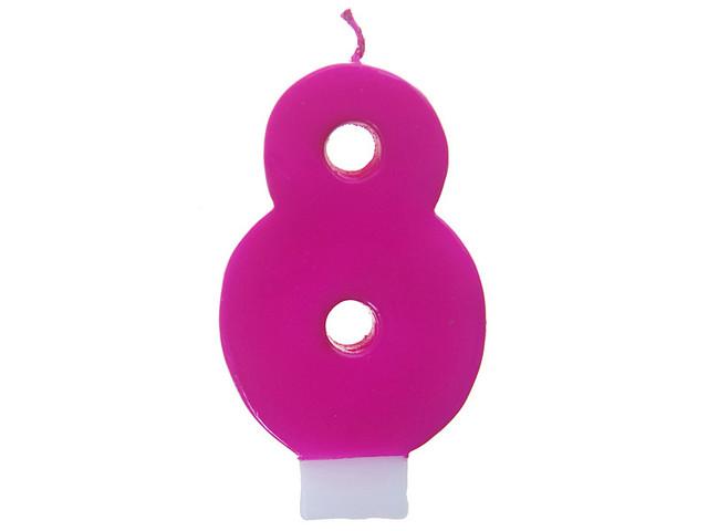 სანთელი ციფრი 8 ვარდისფერი