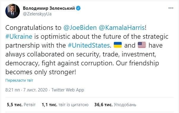 Зеленський привітав обраного президента США Джо Байдена з перемогою на  виборах • Новини • Місто Прилуки