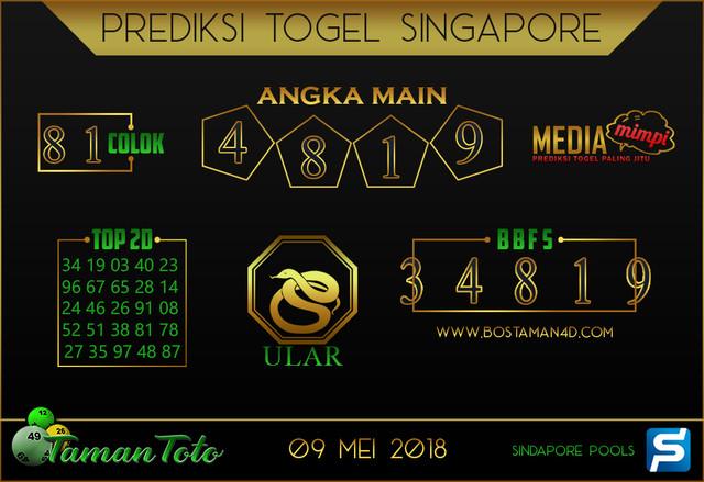 Prediksi Togel SINGAPORE TAMAN TOTO 09 MEI 2019