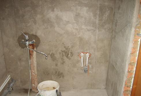 Штукатурка стен в ванной под плитку