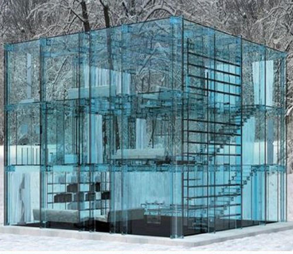 Desain Rumah Kecil dengan Material Kaca