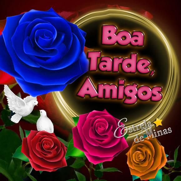 """Pode ser uma imagem de rosa e texto que diz """"Boa Tarde Amigos Estrela deMinas mikimi"""""""