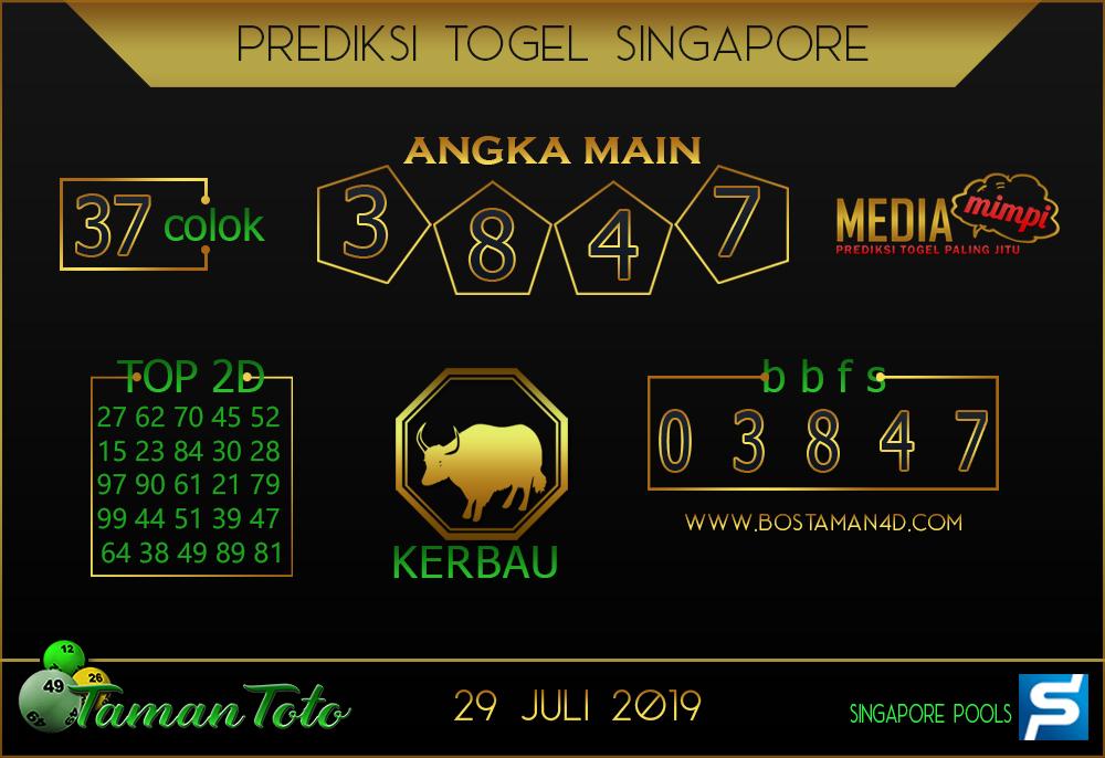Prediksi Togel SINGAPORE TAMAN TOTO 29 JULI 2019