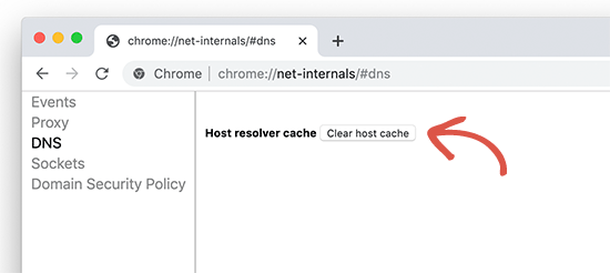 Clearing Google Chrome DNS cache