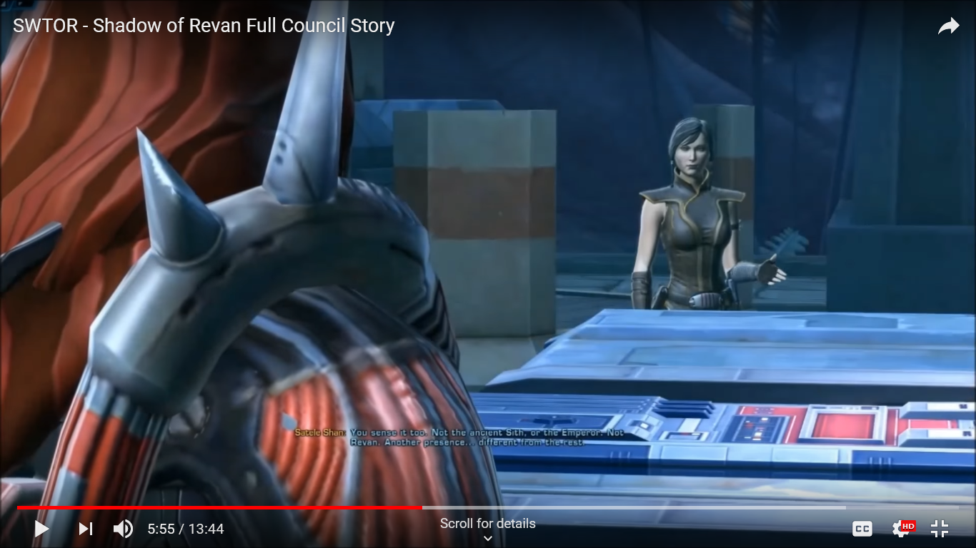 A REVISIT to the dialogues in the SWTOR (Shadow of Revan) expansion set 1