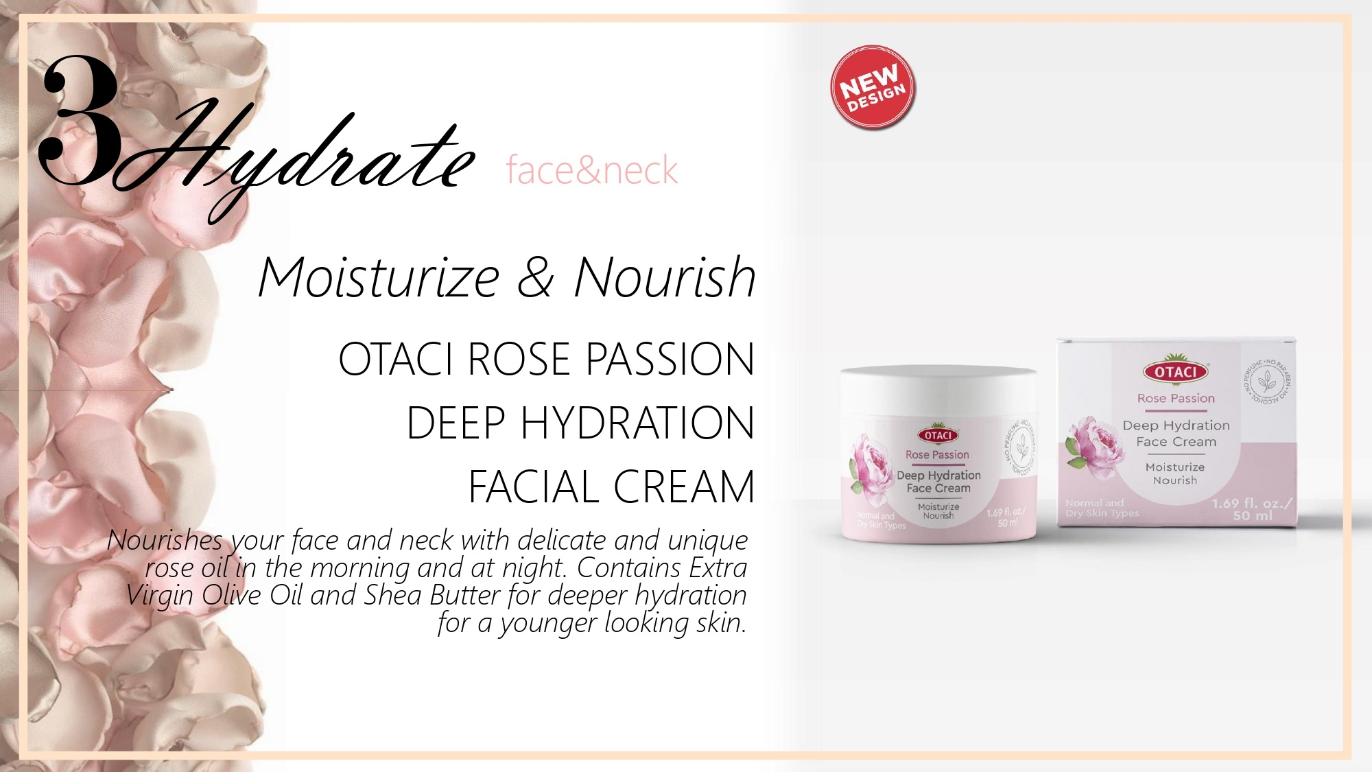 Otaci Rose water moisturizing Face cream rose cream