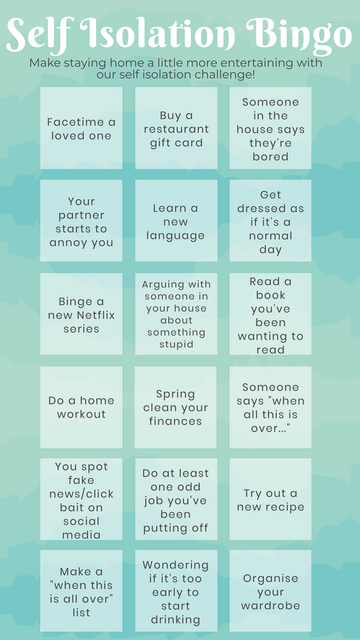 Self Isolation Bingo