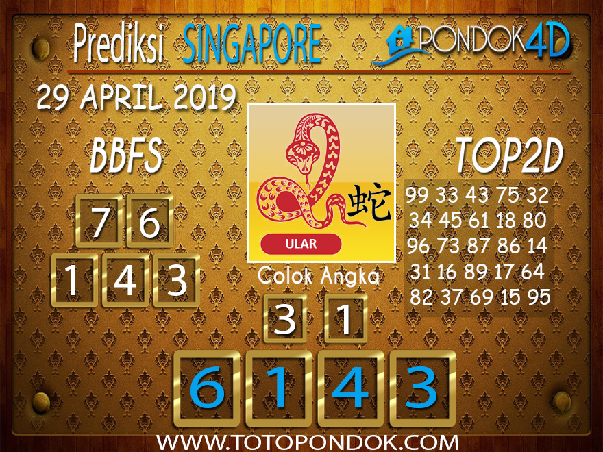 Prediksi Togel SINGAPORE PONDOK4D 29 APRIL 2019