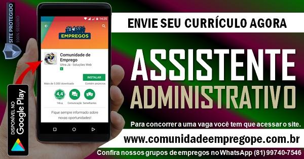 ASSISTENTE ADMINISTRATIVO COM SALÁRIO R$ 1700,00 PARA PESSOA COM DEFICIÊNCIA