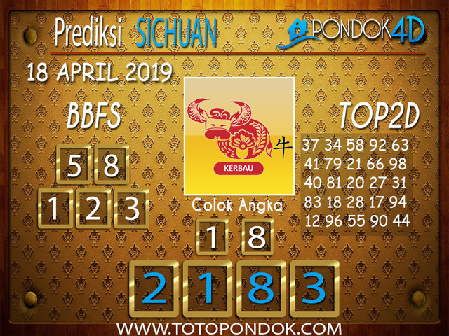 Prediksi Togel SICHUAN PONDOK4D 18 APRIL 2019