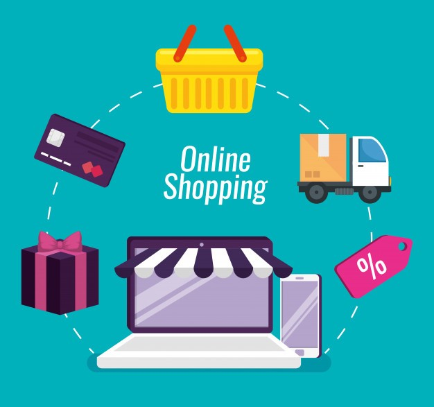 Online shopping with laptop and smartphone technology | Free Vector