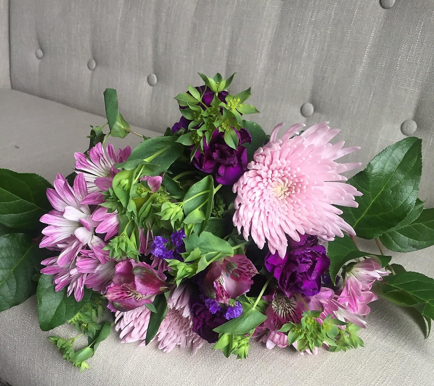 DIY bouquet in purple using flowers from Flower Bundles