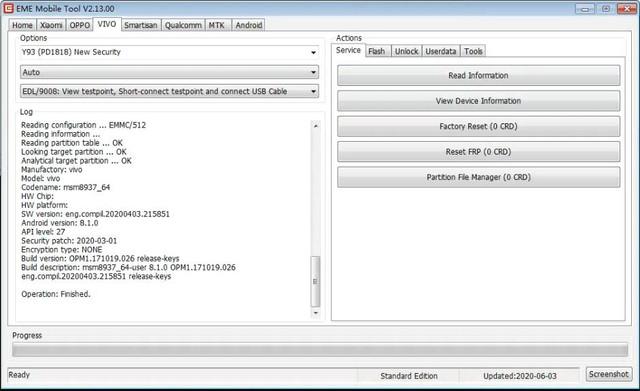 EMT-VIVO Y93(PD1818,8.1.0) Reset Screenlocks (Factory Reset)