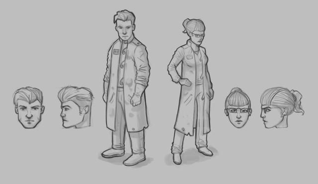 Konzept-Zeichnung-Wissenschaftler