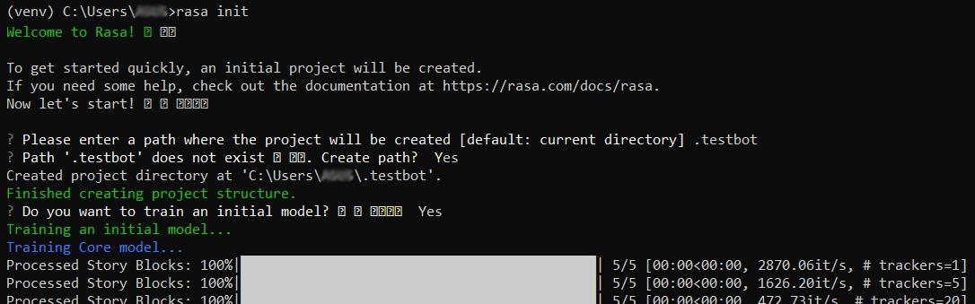 rasa init console output