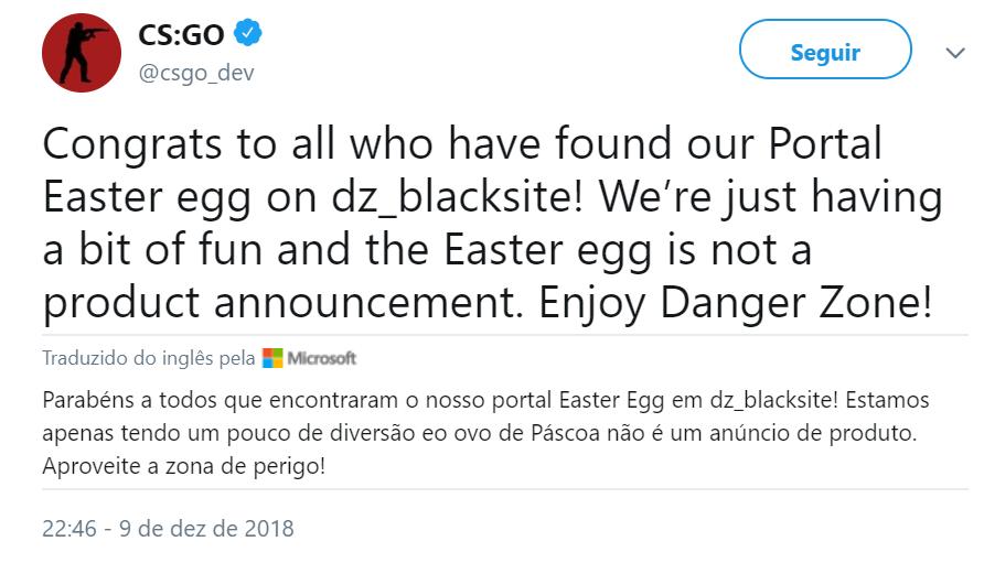 Tweet sobre Easteregg de Portal