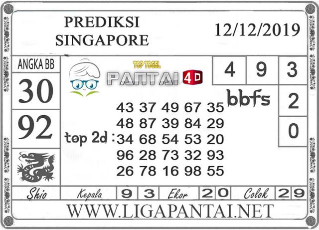 PREDIKSI TOGEL SINGAPORE PANTAI4D 12 DESEMBER 2019