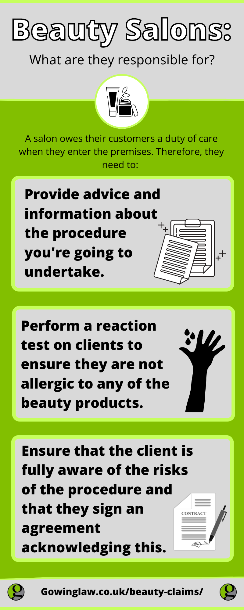 Beauty Claims and salon responsibilities infographic