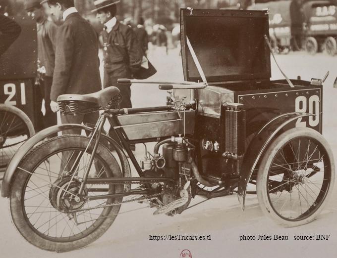 1905, Mototri Contal photographié lors du concours des véhicules industriels