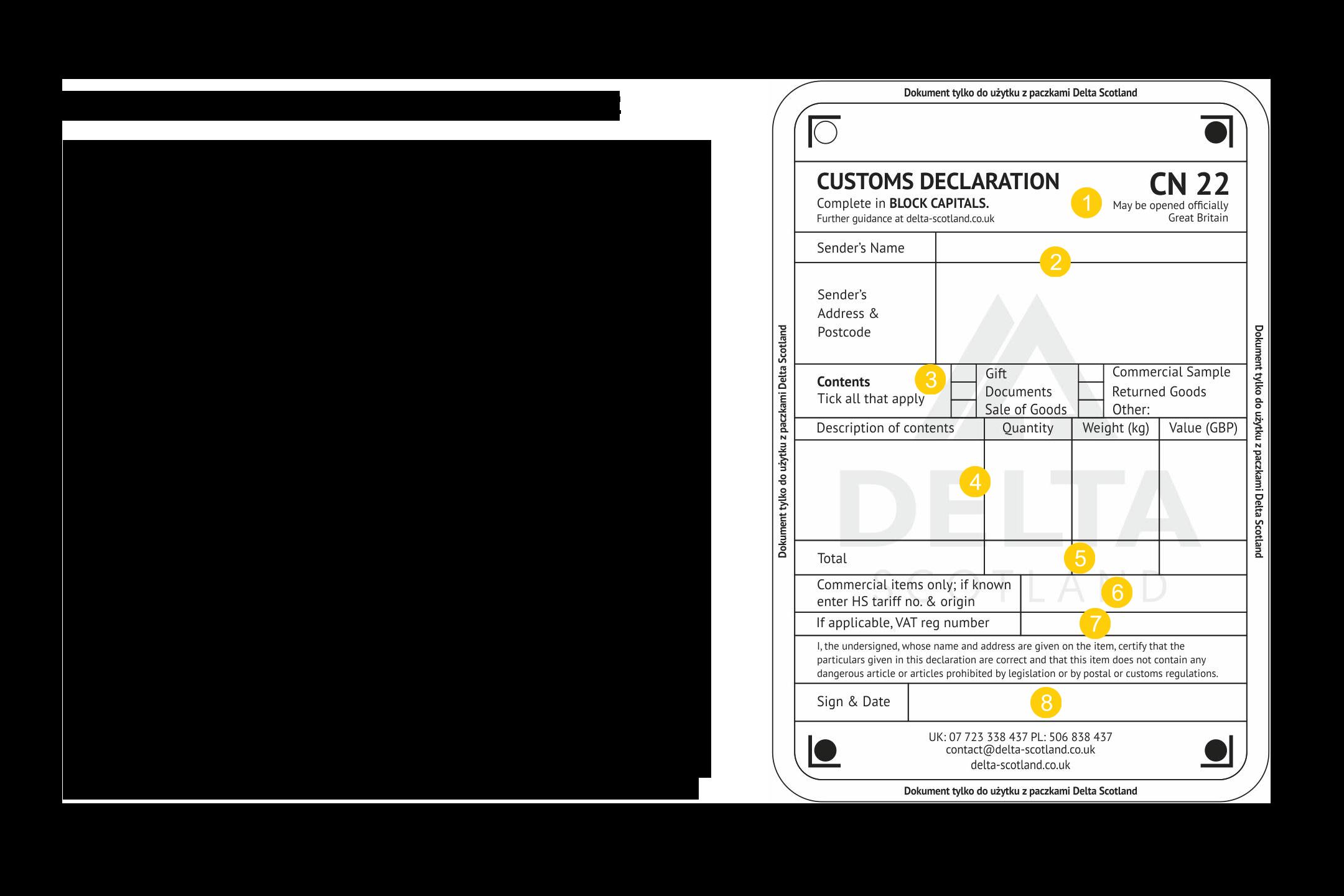 Instrukcja wypełnienia deklaracji celnej CN22