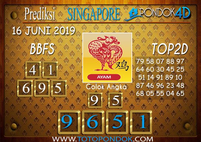 Prediksi Togel SINGAPORE PONDOK4D 16 JUNI 2019