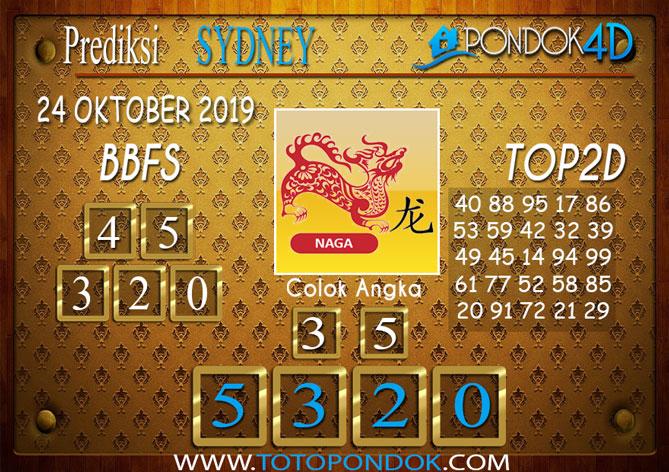 Prediksi Togel SYDNEY PONDOK4D 24 OKTOBER 2019