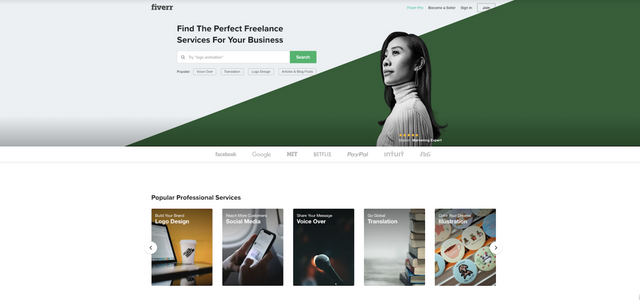 Fiverr homepage banner