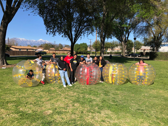 Group Photo of Clients who used our Bubble Soccer rental in Chino, California on March 16, 2019.