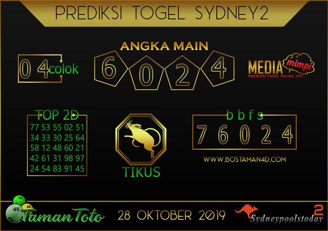 Prediksi Togel SYDNEY 2 TAMAN TOTO 28 OKTOBER 2019