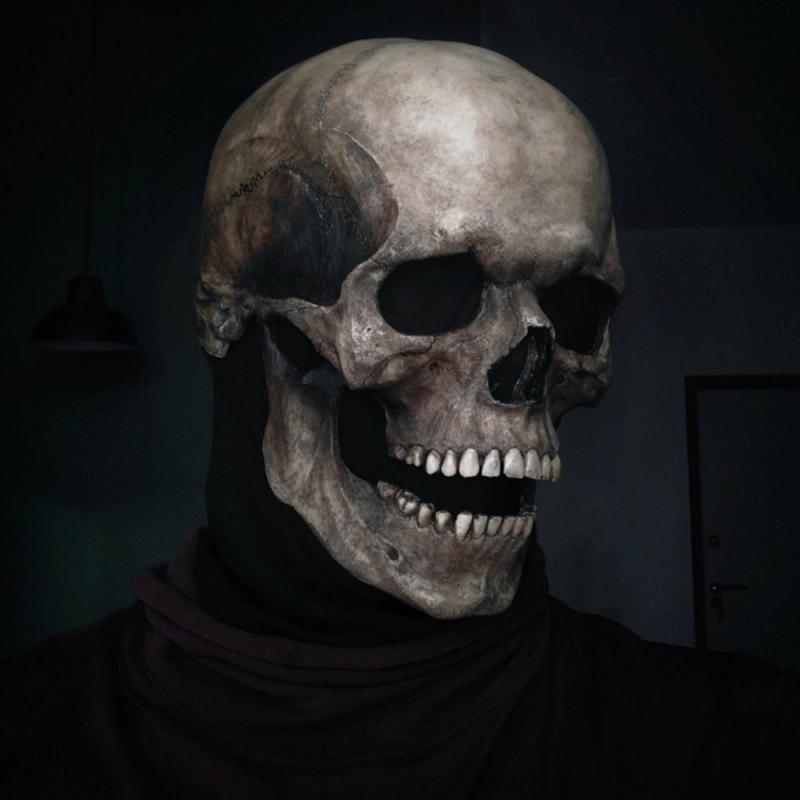 0-Human-Skull-Mask-Halloween-Mask-Horror-Decoration-Full-Head-Skull-Mask-helmet-Movable-Jaw-Latex-Ma