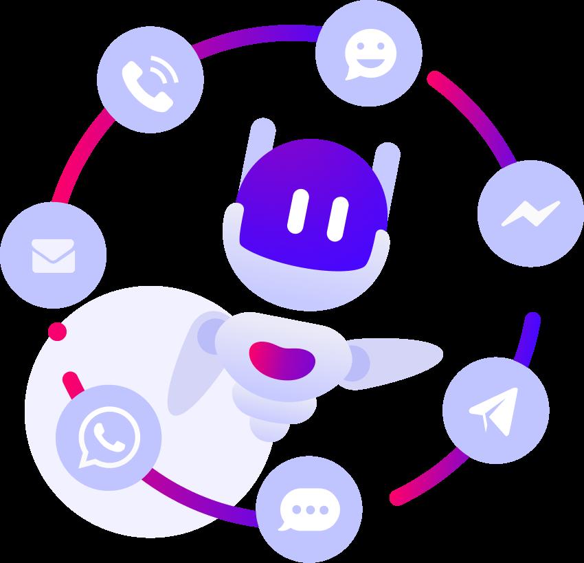Chatbots em vários canais.