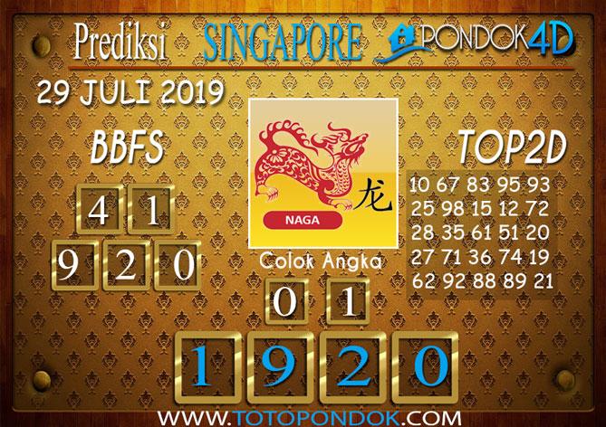 Prediksi Togel SINGAPORE PONDOK4D 29 JULI 2019