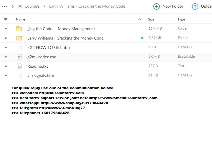 Larry Williams - Cracking the Money Code (Total size: 7.69 GB Contains: 6 folders 30 files)