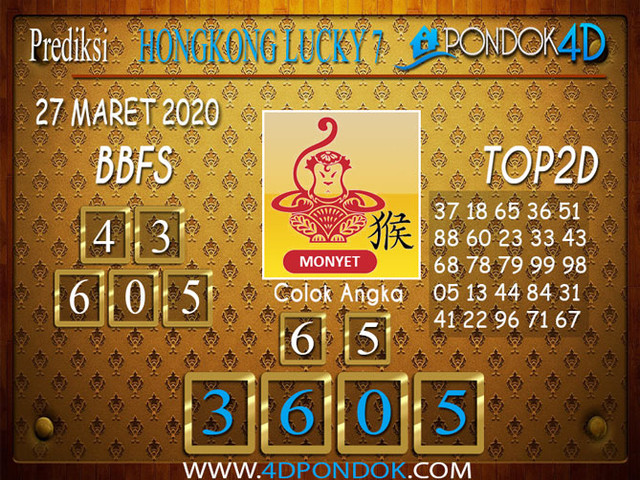 Prediksi Togel HONGKONG LUCKY 7 PONDOK4D 27 MARET 2020