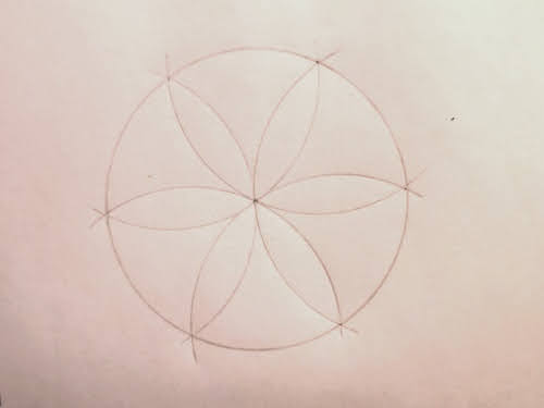 An image of a hexafoil drawn with a pair of compasses. The symbol was a common mark used for home protection.