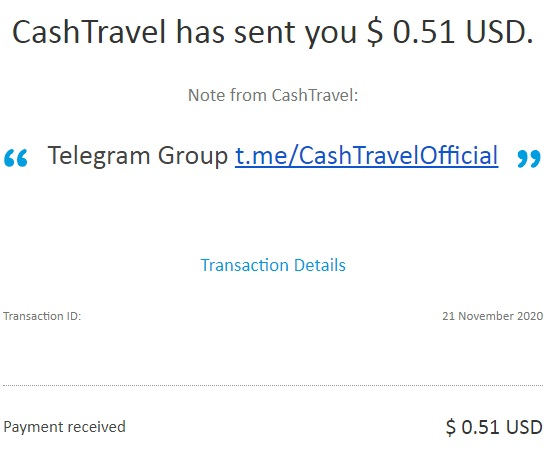 My latest payment proof